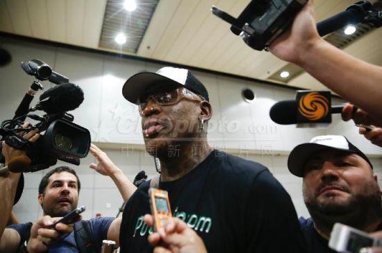前NBA球星罗德曼结束访朝之旅飞抵北京